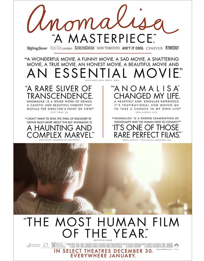 チャーリー・カウフマン+デューク・ジョンソン監督『アノマリサ:Anomalisa』Charlie Kaufman
